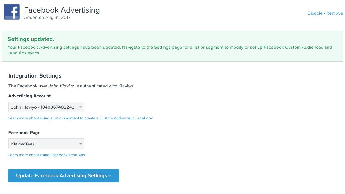 Integrate Facebook Advertising with Klaviyo – Klaviyo - Help