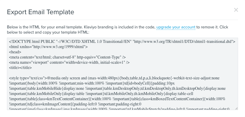 Export the HTML for an Email Template – Klaviyo - Help Center