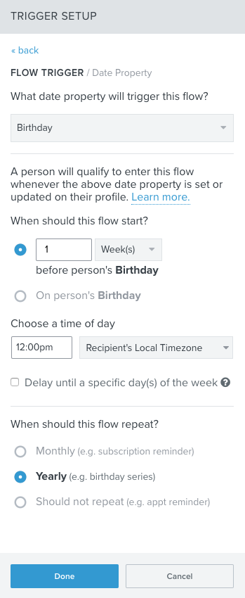 Create a Date Property Triggered Flow – Klaviyo - Help Center