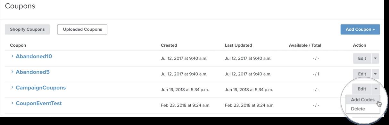 Unique Coupon Codes for Shopify – Klaviyo - Help Center